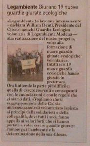 Articolo su Il Resto del Carlino, ed. Modena, del 22/12/2013